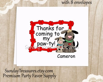 Thank You Cards Set of 8 / Dog Puppy Pawty / Blank Notecards Stationery / Kids Boy Girl Birthday Party / Personalized 1-2 Day Ship (nc)