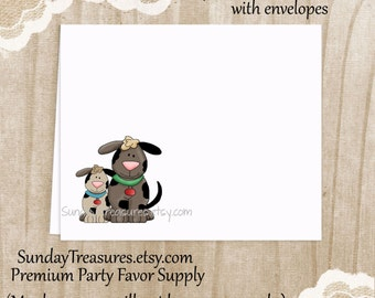 Thank You Cards Set of 8 / Dog Puppy / Blank Notecards Stationery / Kids Boy Girl Birthday Party / Personalized 1-2 Day Ship (nc)