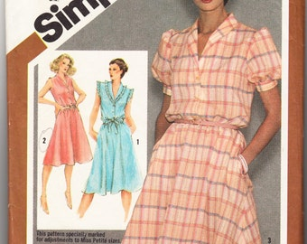 Classic 1980 Simplicity 9867 Sewing Pattern Misses' Pullover Dress Size 10 Bust 32-1/2
