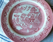 Red Willow Plate Blue Willow design in red Pink transferware Red transfer plate English china