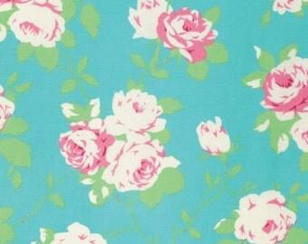 Chloe by Tanya Whelan and Free Spirit Fabrics Pink Roses on Aqua pwtw101-green