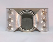 Silver Star Studded Ring Clasp Cuff  on Silver Metallic Leather support your favorite team by Rockin its Colors