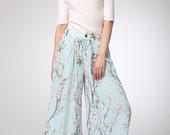 print wide leg pans - women Maxi pants - Long  chiffon pants -  summer long pants- Handmade pants - plus size available (1269)