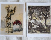 two French art watercolor drawings vintage postcards from the Metropolitan Museum of Art, Daumier