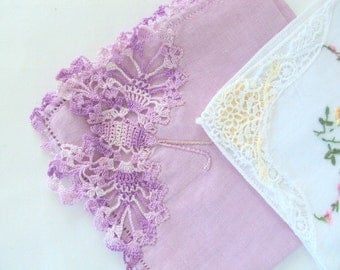 Vintage1950s Four Handkerchiefs,Cotton Linen,Crochet Lace Butterfly,Floral Embroidery, Applique, Ladies Vanity,White Purple Yellow Red Green