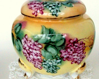Vintage Limoges China Biscuit Jar, Footed Handpainted,Floral, Home Decor, Kitchen Dining, Collectible, Yellow Purple, Porcelain Gold Trim