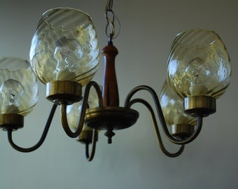 vintage optic gold five arm chandelier with wood and antique brass accents - 1970's - Retro - Mod