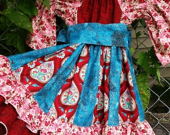 Patchwork Peasant Dress. Bright Colored coordinating strips. 3T