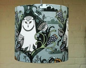 White Owl Drum Lampshade from a hand drawn illustration - SALE - Last One
