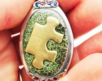 Golden Jigsaw Puzzle Piece Locket, Autism Awareness, Always Unique Totally Interesting Sometimes Mysterious, Moss Terrarium Pendant Jewelry