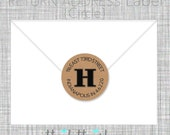 Initial Return address label- custom- 2 inch circle, brown kraft or white photo gloss label, sticker, wedding announcements