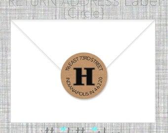 Initial Return address label- custom- 2 inch circle, brown kraft or white photo gloss label, sticker, wedding announcements