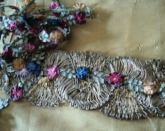 Antique Ribbonwork Ribbon Rose Trim Rosebud Silk with Metallic Edge Rare Large Flowers French 1910's Sold by the Foot