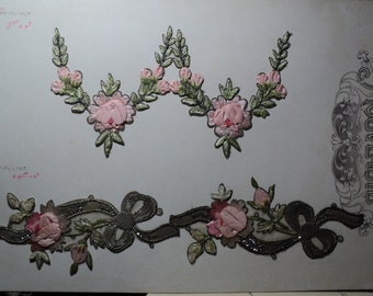 Art Nouveautte Co. Original Card of Four Appliques Metallic Lame Pink Ribbonwork Ribbon Roses Silk Embroidery Old Store Stock