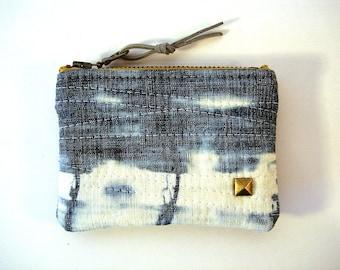 Bleached Denim White Small Card Zipper Pouch Coin Purse