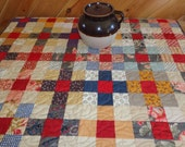 Large Size Quilted Table Topper - Country Colors- Vintage Primitive