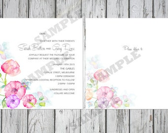 Square Modern Floral Wedding Invitation Set DIY Printable