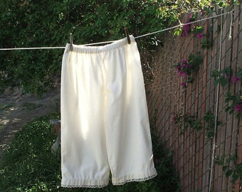 Ready now!  XLARGE NATURAL Women's Pantaloons Cotton with Lace Bloomers Renaissance