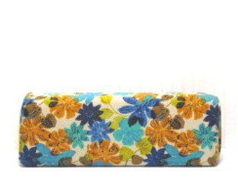 Vintage  Wedge Bolster Pillow, Daybed Back Pillow, Mod Bright Flowers,1970s