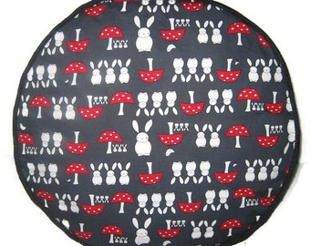 Rabbit and Bunnies Pouffe Foot Rest Floor Cushion Pouf