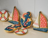Nautical Sailing Hand Decorated Sugar Cookies