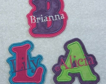 Iron on Personalized Single Name Patch with Monogram (girl colors) Fabric Embroidered Iron On Applique Patch MADE TO ORDER