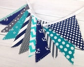 Bunting Banner, Photography Prop, Fabric Flags, Nautical Nursery Decor - Anchors, Gray, Turquoise, Navy Blue, Teal, Chevron, Dots, Grey
