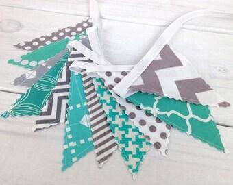 Bunting Banner Mini, Fabric Banner, Fabric Flags, Baby Nursery Decor, Home Decor - Teal Blue, Turquoise, Gray, Grey, Chevron, Geometric