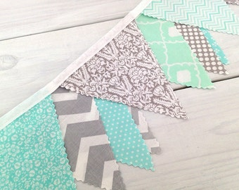 Bunting Fabric Banner,Fabric Flags,Photography Prop,Wedding Decoration,Home Decor,Mint Green,Gray,Grey,Chevron,Dots,Flowers,Damask