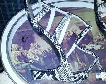Vintage 90s Python T Strap Heels Ladies Sandals Size 9