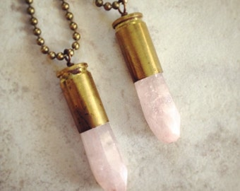 Rose Quartz Facceted Stone & Bullet Casing Necklace - Handmade Bullet Jewelry Pendant - Brass with Pink Stone