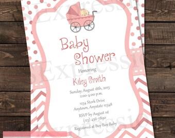 Baby Girl Pink Stroller Baby Shower Invitation