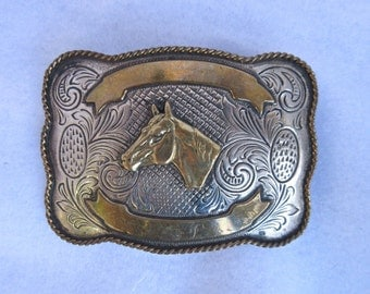 Vintage Buckle Silver and Brass