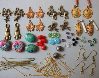 Destash Earring Finding Components Mixed Lot - Pendants Charms Head Pins Earrings Beads