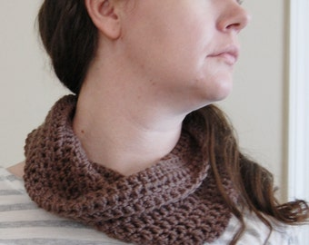 Crochet Cowl - taupe, gray brown