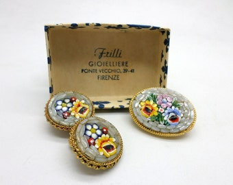 Micro Mosaic Pin and Clip On Earrings Set with Fleur de Lis Box Ponte Vecchio Florence Italy  Vintage Italian