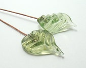 Handmade lampwork headpins  -  Gooseberry Leaf pair  -  leaf headpin, green, pale green, pale olive, glass headpins