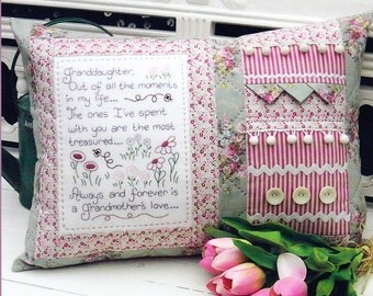 PATTERN - Granddaughter  - pretty stitchery and pieced pillow PATTERN - The Rivendale Collection