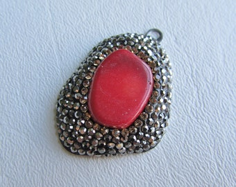 Cayenne Red Coral Pave Crystal Focal Pendant