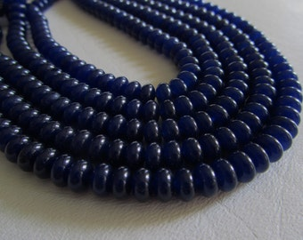 Navy Blue Agate Smooth Rondells Half Strand