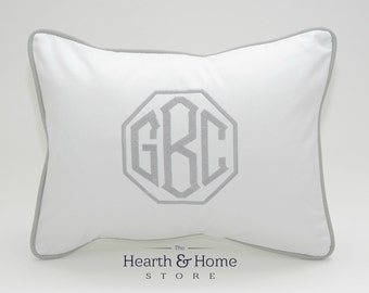 Large Monogrammed Pillow , Monogram Pillow, Personalized Kids Pillow, Dorm Decor, Monogrammed Wedding Gift , Nursery Pillow