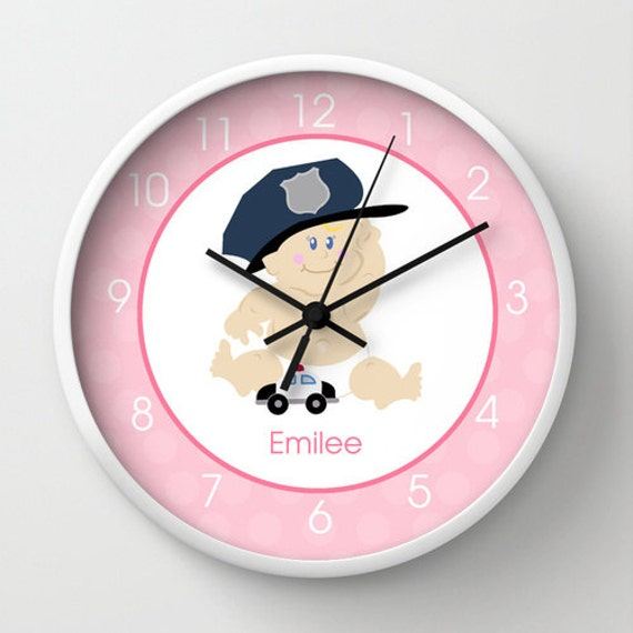 Baby Cop Police Officer Nursery Wall Clock, Choose frame ...