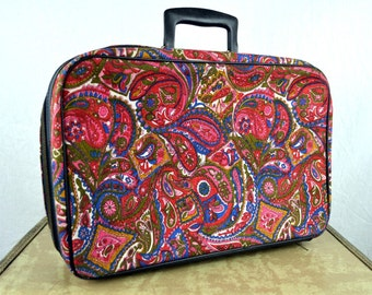 Vintage 1960s Paisley Mod Mini Floral Suitcase - Made in Japan