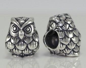 1 x Authentic Sterling Silver Charm Georgous Owl King Bead For Europe Charm bracelet #EC164