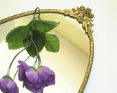 Vanity Mirror Tray  Florentine Gold Oval Large Tray Cherub Handles Vintage Hollywood Glam