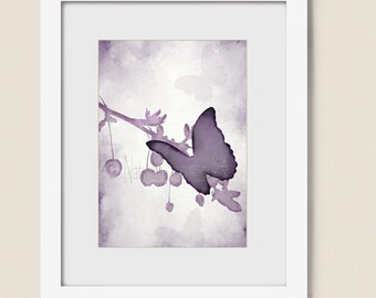 5 x 7 Dark Purple Butterfly Art, Lavendar Decor for House, Butterfly Girls Room Wall Art, Tree Branch Art, Butterfly Wall Decor (215)