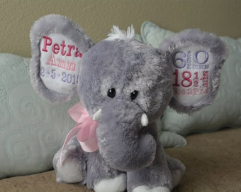Plush Elephant baby gift with birth stats