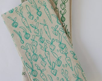 Cloth Napkins, Hand Printed Root Vegetables in Turquoise, Set of 4 Natural Linen / Cotton Blend