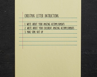 christmas letter. letterpress card. #661