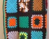 Vintage afghan blanket / Crochet many colored 1970s bohemian blanket / Granny squares / Hippie boho decor / 70s bedding bedroom